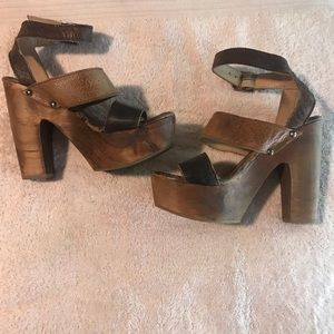 Bed Stu Brown Wooden Heeled Strappy Sandals 6.5